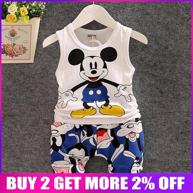 17d87841c BibiCola New Cartoon Summer Baby Boy Clothing Set Tank Top + Shorts Kid Boy  Summer Set Children Boy Clothes Set Sleeveless
