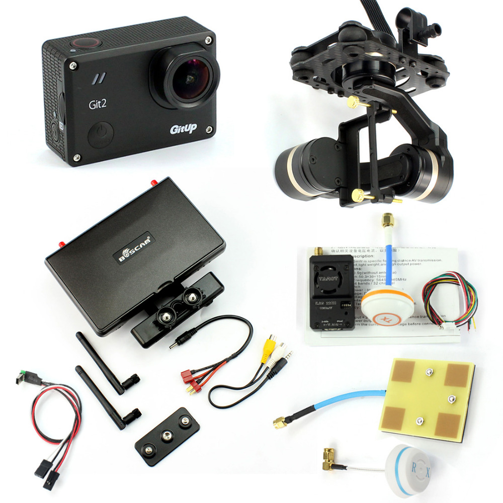 DIY FPV Set with 1000mw Transmitter 7 Inch FPV Monitor Gitup git2 Camera Tarot TL3T01 Gimbal Real-time FPV Cable Panel A real cable ott60 1m20