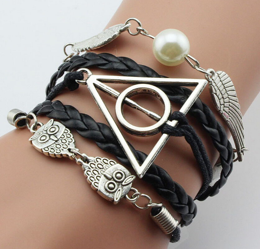 5pcs European Style Retro silver Owl Deathly Hallows&Dove Peace Charm Braided Rope Bracelet DIY Fashion Jewelry For Women S592
