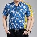 Alta calidad del verano nuevos moda tropical hawaiano de flores camisa de algodón de impresión