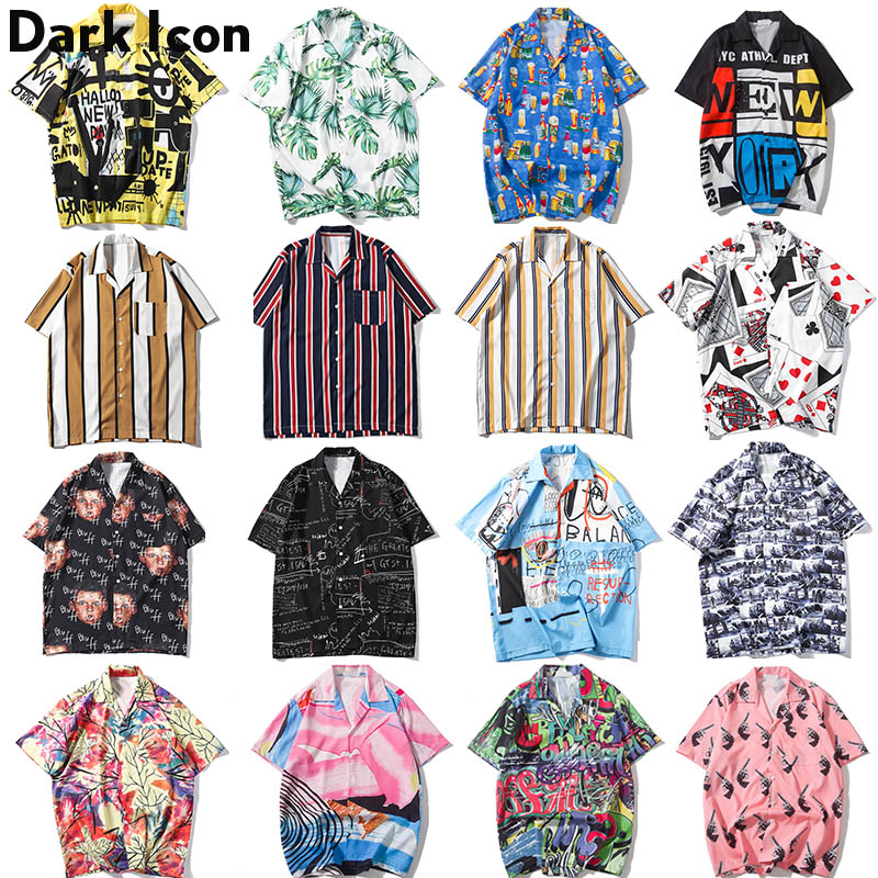 Dark Icon Full Printed Harajuku Japanese Style Shirt 2019 Summer Street Loose Short Sleeved Shirt Men's Shirt Plus Size