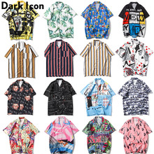Dark Icon Full Printed Harajuku Japanese Style Shirt 2019 Summer Street Loose Short Sleeved Mens Plus Size
