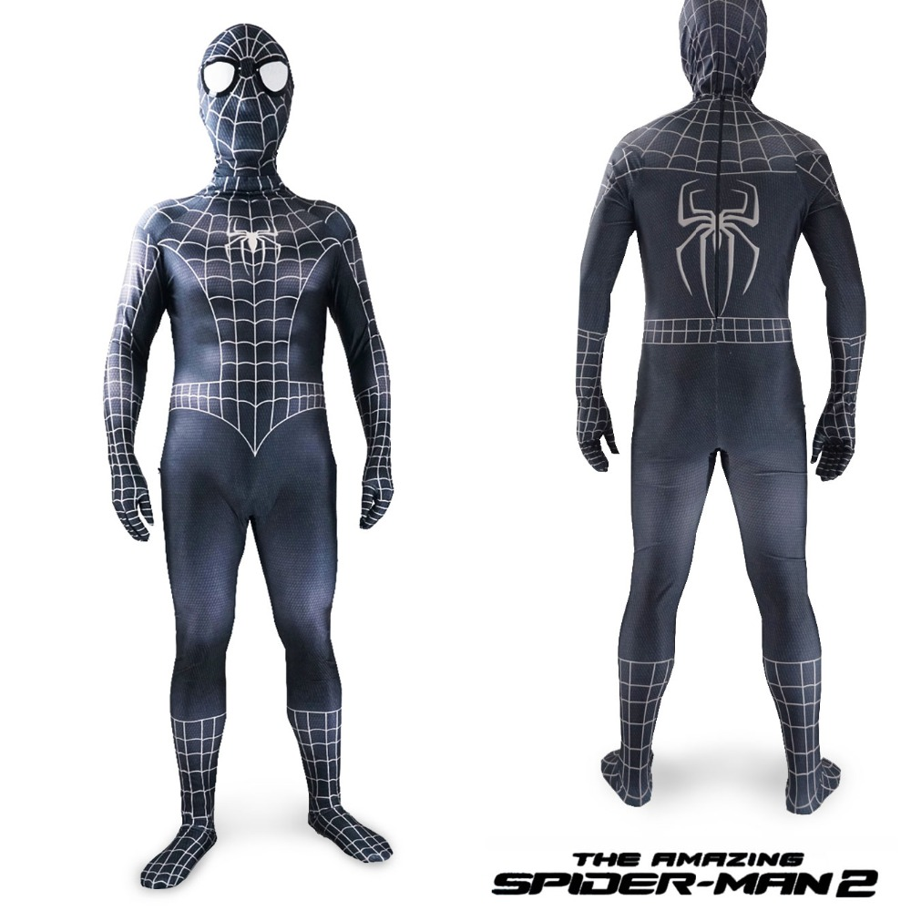 Lycra Spandex Black Spiderman Cosplay Costume Halloween Cosplay for boy Kids and Adult men Venom Zentai Suit Child superhero