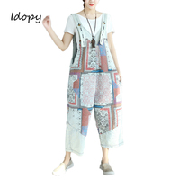 Idopy Women`s Jumpsuit Loose Fit Baggy Japanese Style Striped Printed Length Casual Bib Overalls For Girls