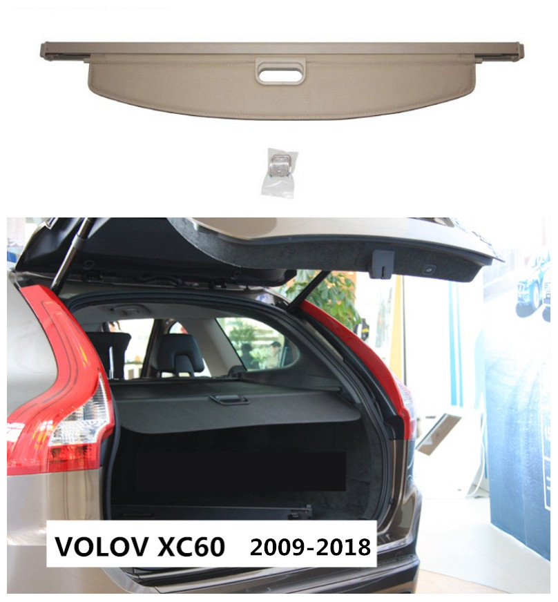 For Volvo XC60 2009-2018 Rear Trunk Security Shield Cargo Cover High Qualit Auto Accessories Black Beige car rear trunk security shield shade cargo cover for honda fit jazz 2004 2005 2006 2007 black beige