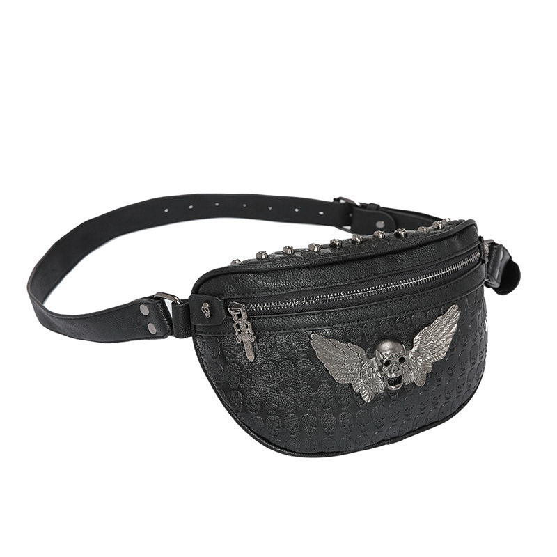 DIINOVIVO Skull Printing Wing Design Waist Bag Women Waist Pack Punk Rivet Fanny Pack For Women Belt Bags Chest Bum Bag WHDV1178 in Waist Packs from Luggage Bags