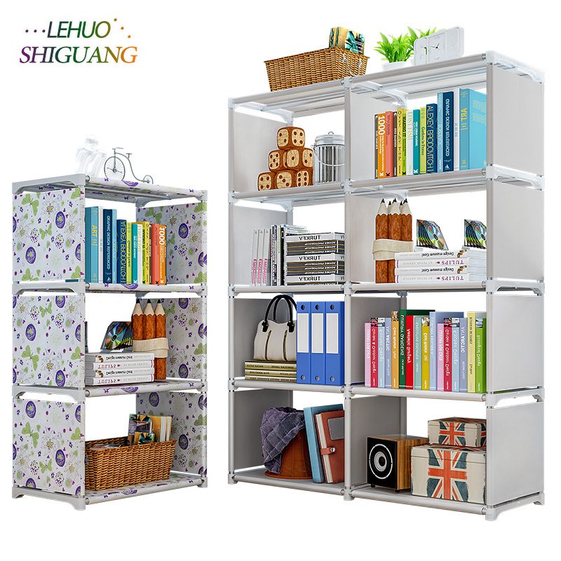 Multi Layer Simple Bookshelf Non Woven Fabric Organizer Storage Cabinet Assembly Wall Shelf Bookcase Home Living Room Furniture
