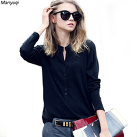 3 Colors Autumn Female T Shirt Long Sleeve Stand Collar Tops Clothes Half Open Blouse Shirts
