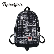 Graffiti Couple Cute Backpack Bag for Youth Fashion Soft Oxford Fabric Quality Students Schoolbag
