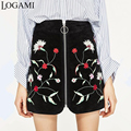 High Waisted Embroidery Skirt Women Vintage Floral Mini Skirts Womens Ziper A-Line Skirt Saia Faldas