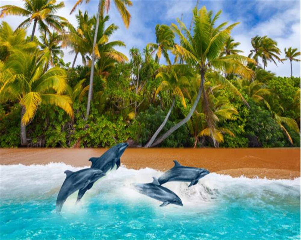 beibehang Custom Made Advanced Silk Cloth Wallpaper Coconut Beach Dolphin 3d TV Background papel de parede 3d wallpaper tapety in Wallpapers from Home Improvement