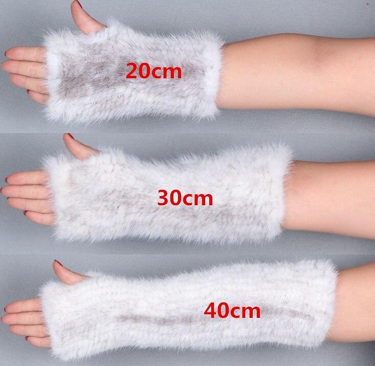 Luxury real vison tricot gants longueur 20 cm/30 cm/40 cm femelle d'hiver sans doigts gants mitaines