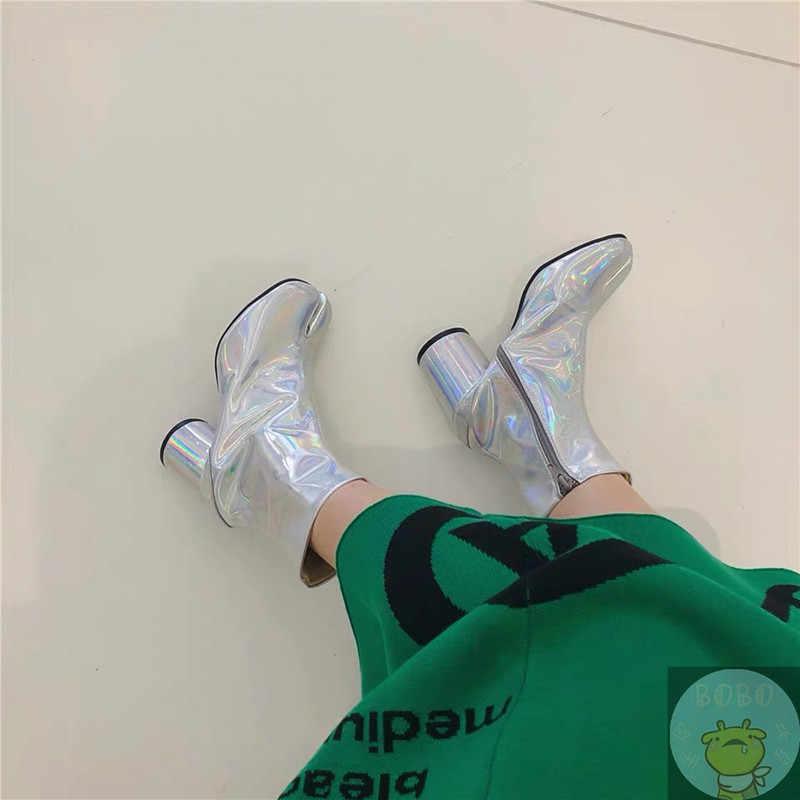 Botas Tabi de cuero para mujer botas de tobillo Bloack tacones bombas zapatos mujer pasarela muslo botas altas marca botas femeninas Tide Martin botas