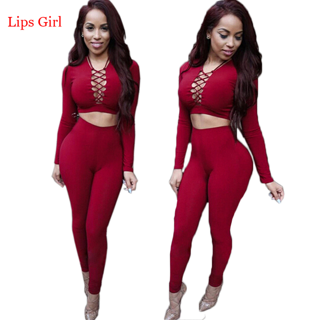 Elegant Two Piece Rompers Womens Jumpsuit Sexy V Neck Tie Up Long Sleeve  Bodysuit Night Club c078a8c0d7fc