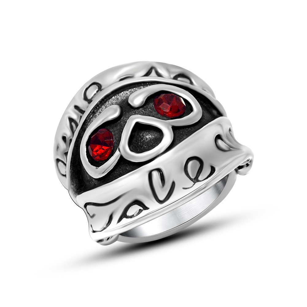 New Arrival Polishing Stainless Steel Men's Red CZ Diamond Eyes Skull Head Finger Rings Gothic Jewelry Gift