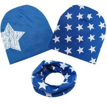 Cotton Baby Hat and Scarf Set Star Print Baby Cap