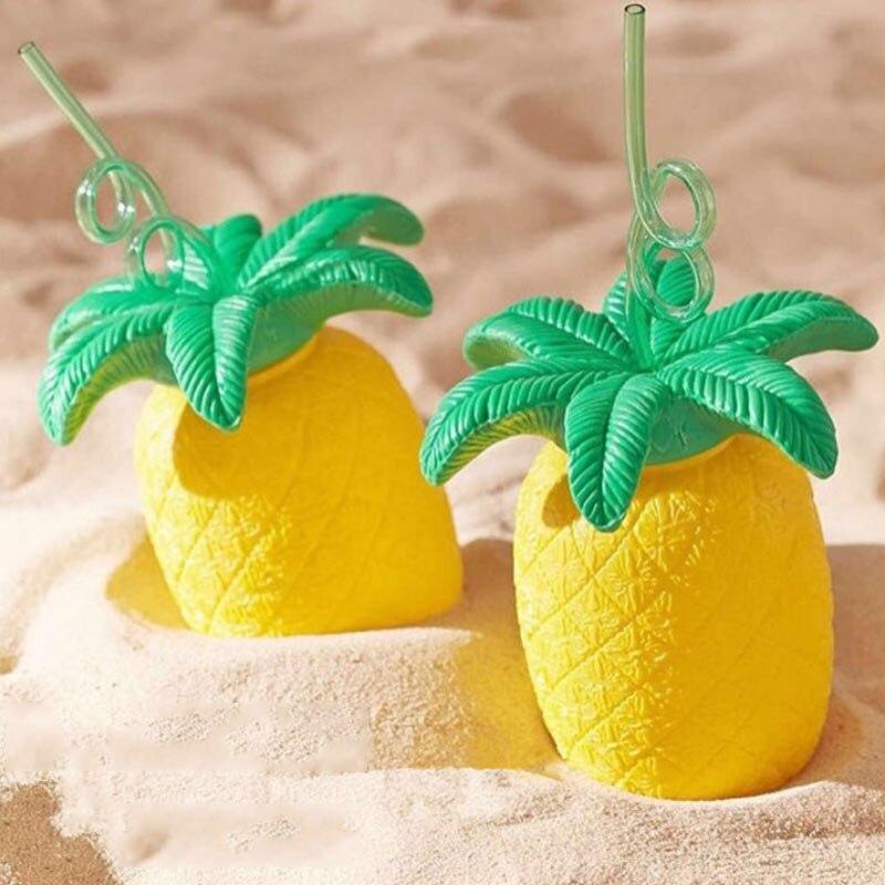 Summer Kids Child Gifts Pineapple Straw Bottles Beach Fruit Juice Drink Tropical Party Barware J2Y