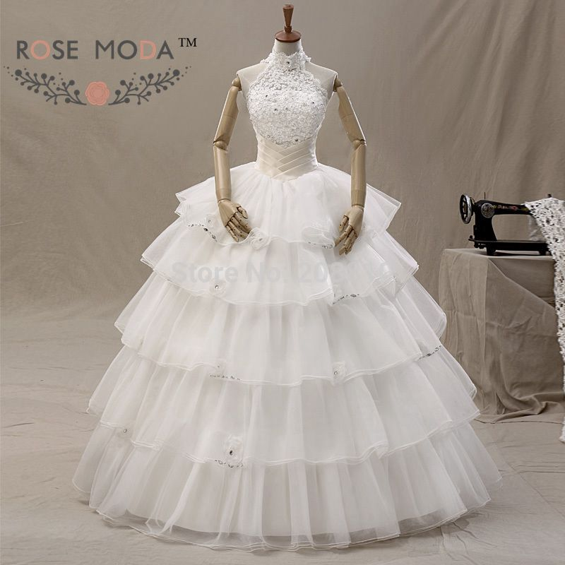 Halter Organza Wedding Ball Gown Tiered Skirt Crystal Lace Top Bridal Gown Vestidos de Noiva Real Photos