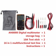 AN8008 LCD Digital Multimeter 9999 counts Square Wave Backlight  LCD Display AC/DC Ammeter Voltmeter Ohm Electrical Multitester