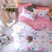 Liv-Esthete 2019 New Cute Flower Bedding Set Soft Duvet Cover Single Double Queen King Bed Linen Flat Sheet Pillowcase For Adult