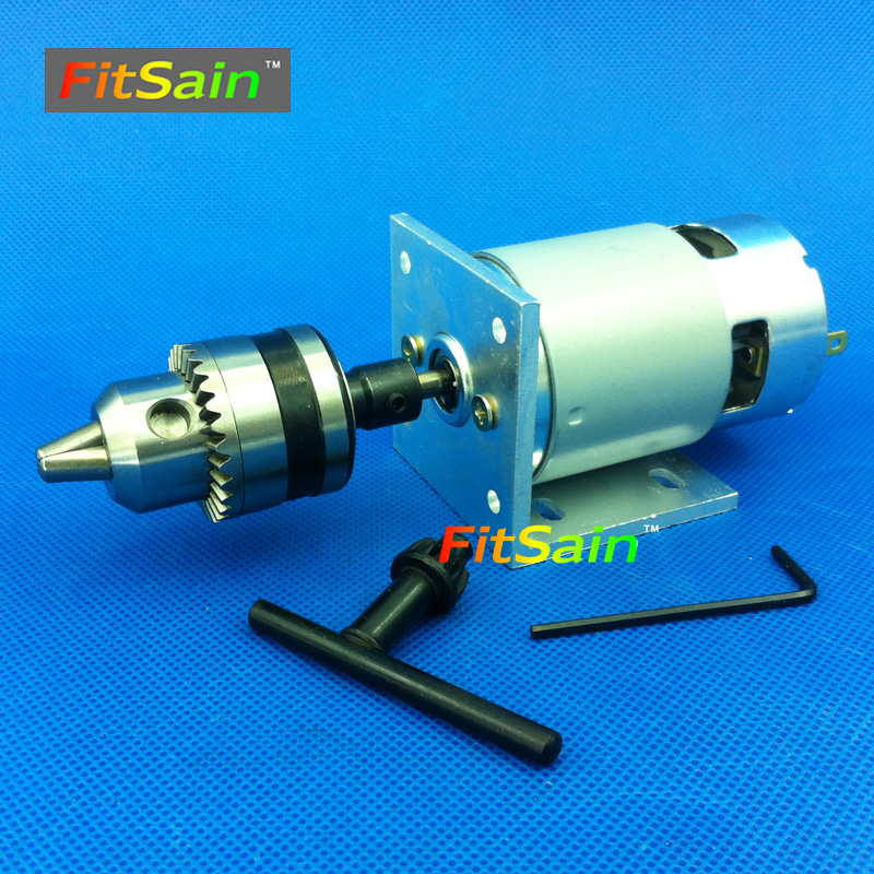 FitSain-775 motor DC24V 8000RPM mini hand drill press dremel Electric drill B12 drill chuck 1.5~10mm Ball bearing electric drill mini miniature ball bearing precision grinding aluminum shell multifunction hand drill