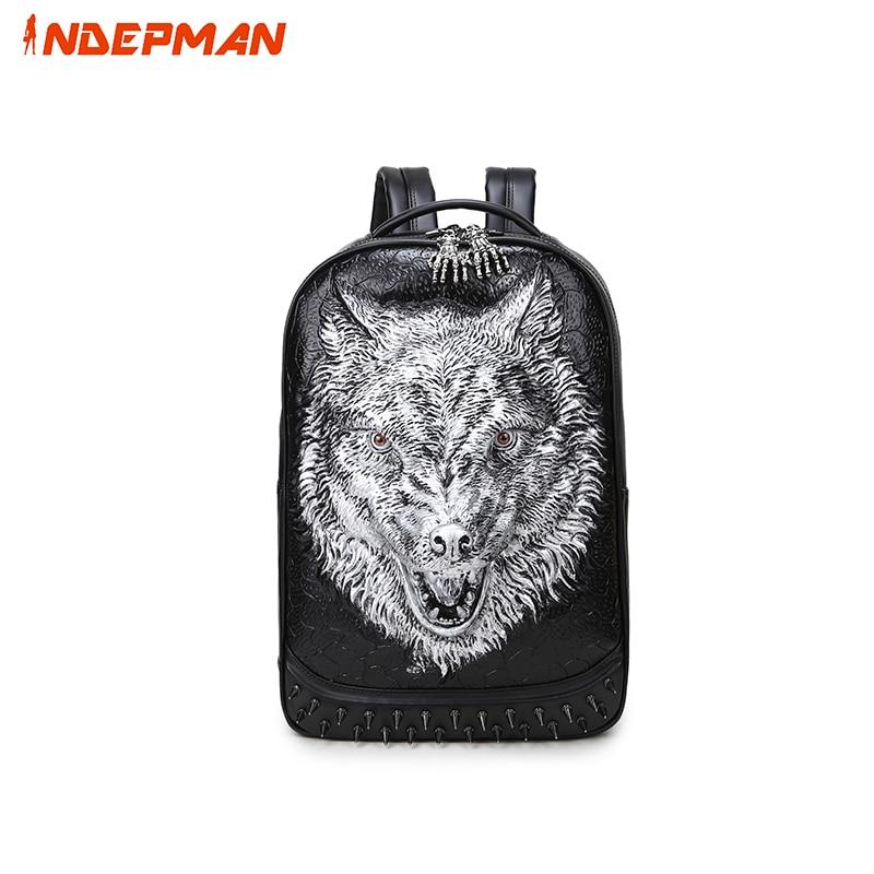 ФОТО Kanken Fashion 3D Print Wolf Rivets Pu Rucksack Preppy Style School Backpack for Teenage Boys 14'' Laptop Mochila