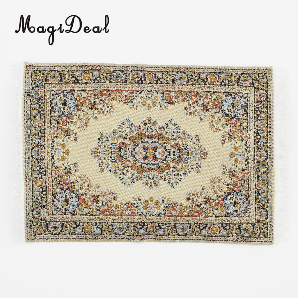 MagiDeal Beige 1/12 Scale Woven Rug Floor Carpet Dolls House Miniatures Furniture Toys For Dollhouse Floor Silk Coverings Gifts