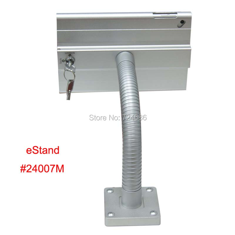 for mini iPad 1/2/3/4 desk lock holder with anti-theft enclosure lockable security stand support mounting on restaurant table for ipad 2 3 4 air pro 9 7 table gooseneck lock mount display on restaurant security desktop holder mounting on shop