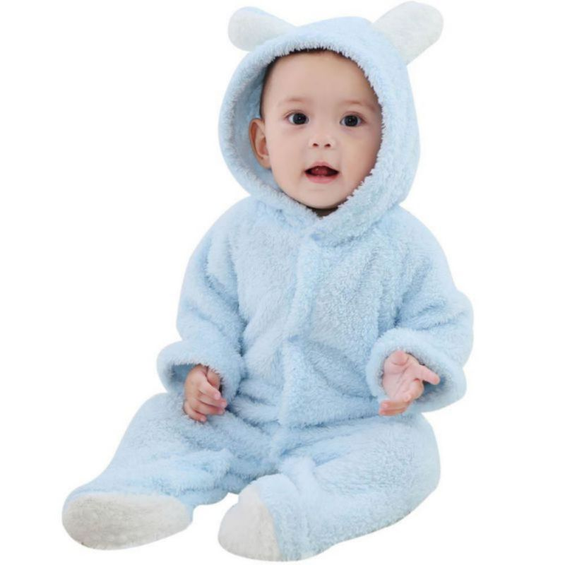 Autumn Winter Baby Rompers Bear Style  Newborn Baby Coral Fleece Brand Hoodies Jumpsuit Baby Girls Boys RomperToddle Clothing
