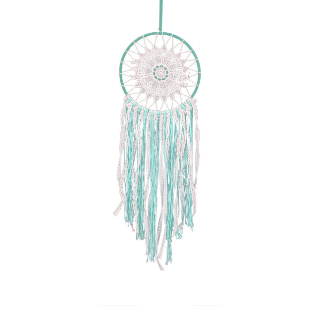 White & Green Lace Flower Dream Catcher