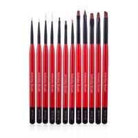 Manicure Set Fine Nail Brush Manicure Brush Nail polish With a Thin Brush Set Christmas Red 12 Painting Mixed Pull Light