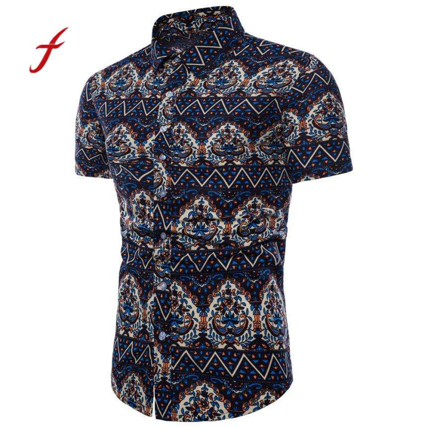 Feitong New Arrival Shirt Men Summer Bohe Floral Short Sleeve Linen Basic Shirt Hot Sale Casual Shirt Plus Size M-5XL