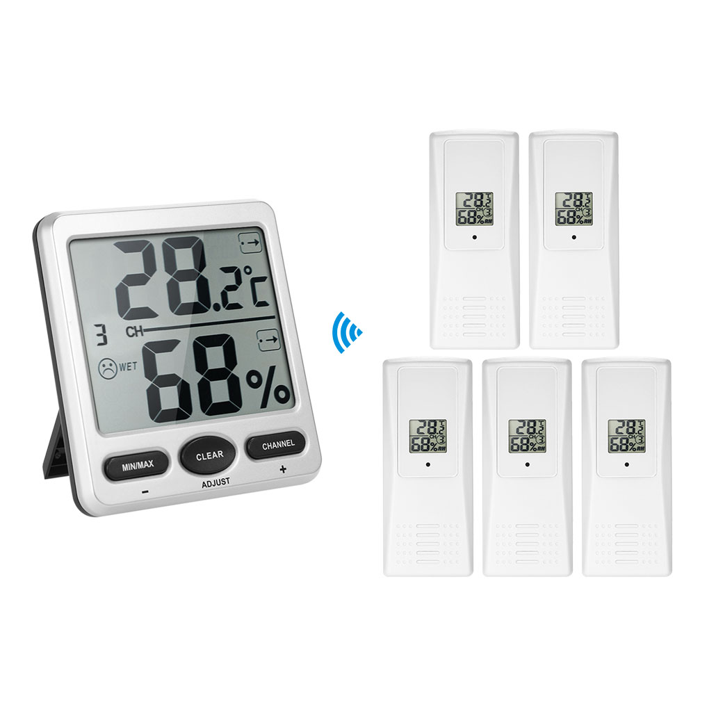 1 to 5 Digital Thermometer Remotes Sensor Emitter Thermo-Hygrometer Console Receiver Wireless lcd digital wireless thermo hygrometer