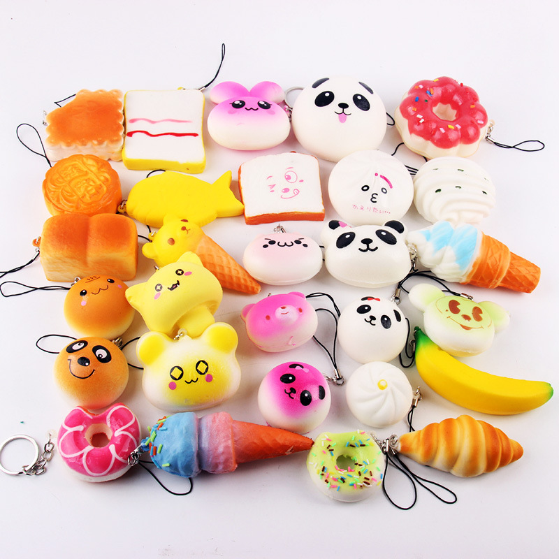 Squishy Slow Rising 10 Pcs/pack Food Squishes Pendant Donut Charm Anti Stress Kawaii Squishies Stretchy Squeeze Toy #5