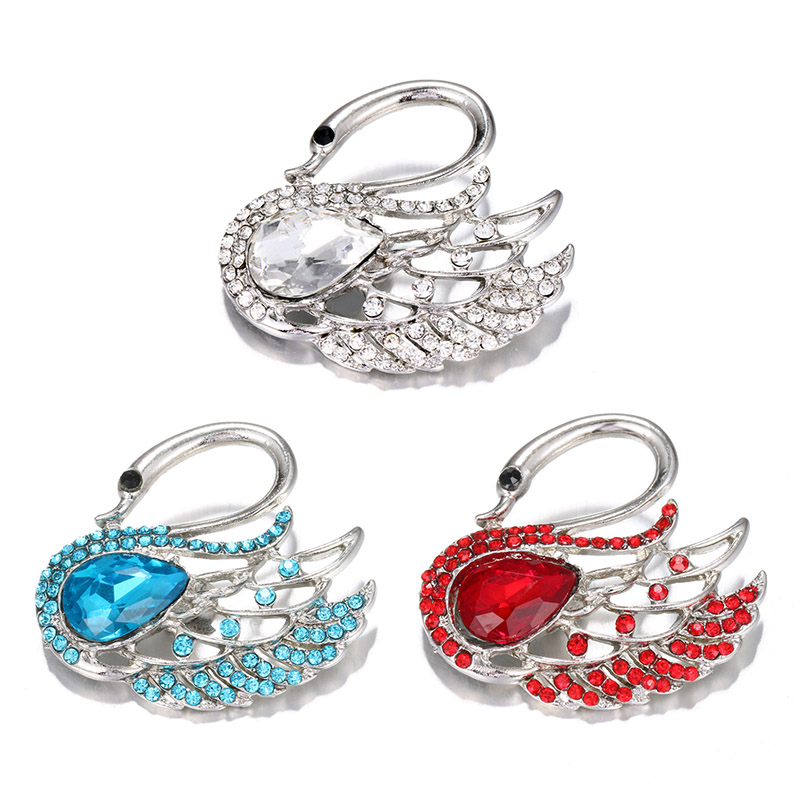 KZ1450 New Fashion Elegant Rhinestone Swan 20MM Snap Buttons Fit DIY 18MM Snap Necklace Jewelry