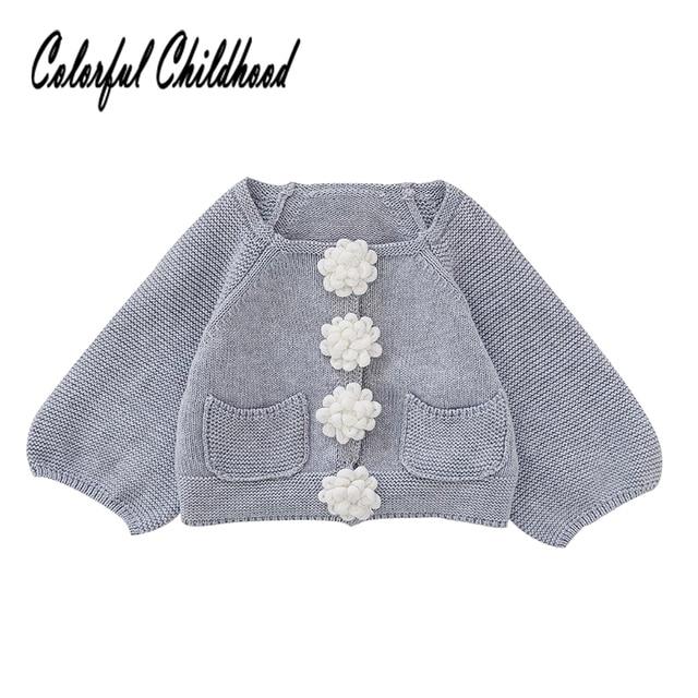 0637000a7 Sweet floral button girls sweater autumn winter warm long sleeve ...