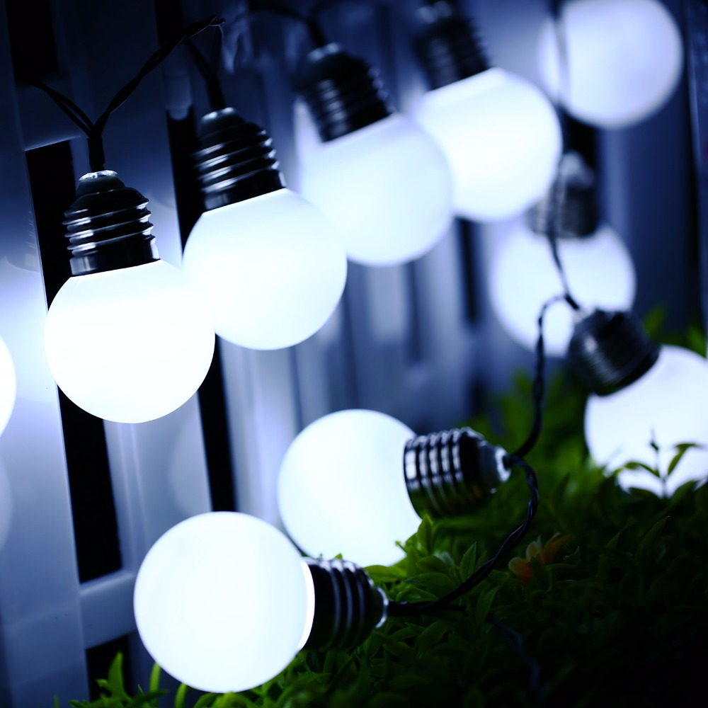 Outdoor Bistro Solar Powered Globe String Lights: 2Pcs Outdoor Solar Powered Led Light String Light 3M 10