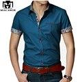 Novo 2015 Italiano camisas de Vestido Blusas Curto-manga da Camisa Ocasional dos homens Slim Fit Chemise Homme Frete Grátis