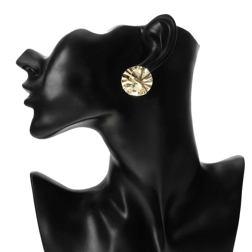 BeUrSelf ラウンドスタッドピアスゴールドシルバー色のメタルイヤリング単純な幾何学ステンレス鋼針のイヤリング女性