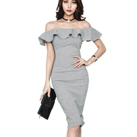 2018 Spring Summer Gingham Dress Women Off The Shoulder Frill Front Split Knee Length Bodycon Checked