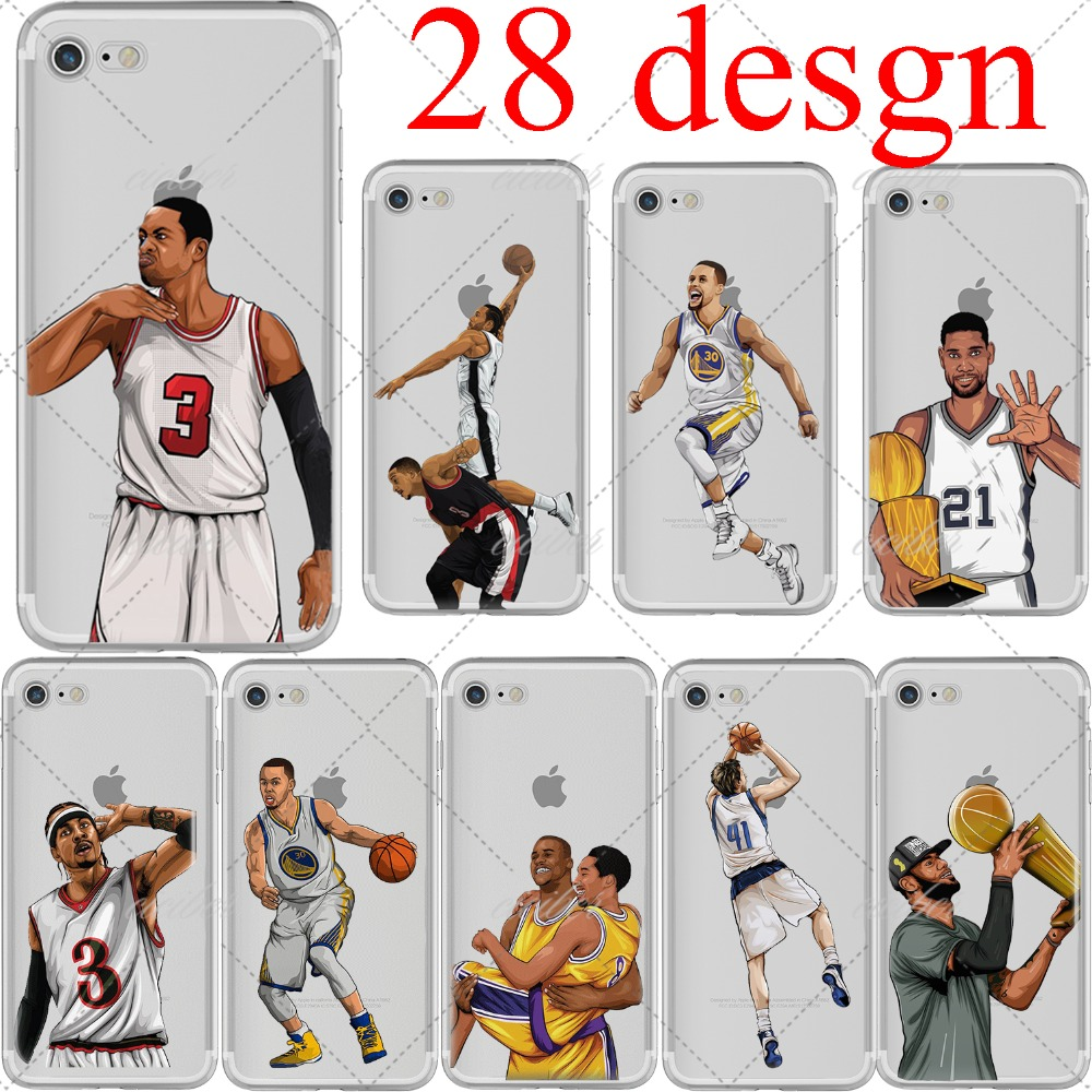ciciber basketball Cartoon Curry McGrady Kobe Bryant soft silicone phone cases cover for iphone 6 6S 7 8 plus 5S SE X Coque