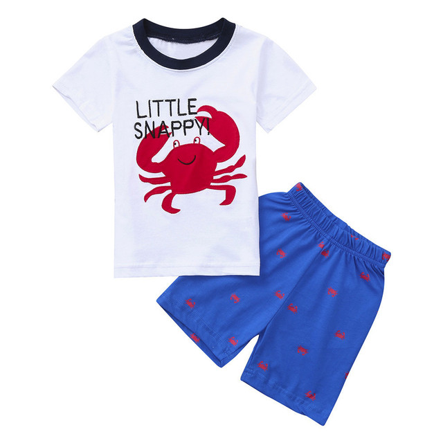 601515453bc 2018 New Baby Boys Clothes Summer Children Short Sleeve Kids Suit Cartoon  Animal Crap Letter Fashion Toddler Boys Clothing Set
