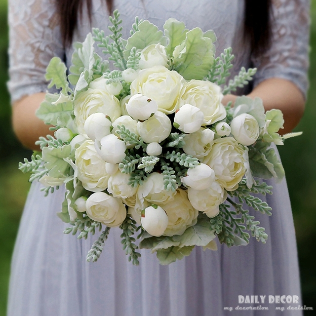 High simulation 2018 new artificial white rose flower bouquet high simulation 2018 new artificial white rose flower bouquet brides bouquet bridesmaids bouquet fake flowers bridal mightylinksfo