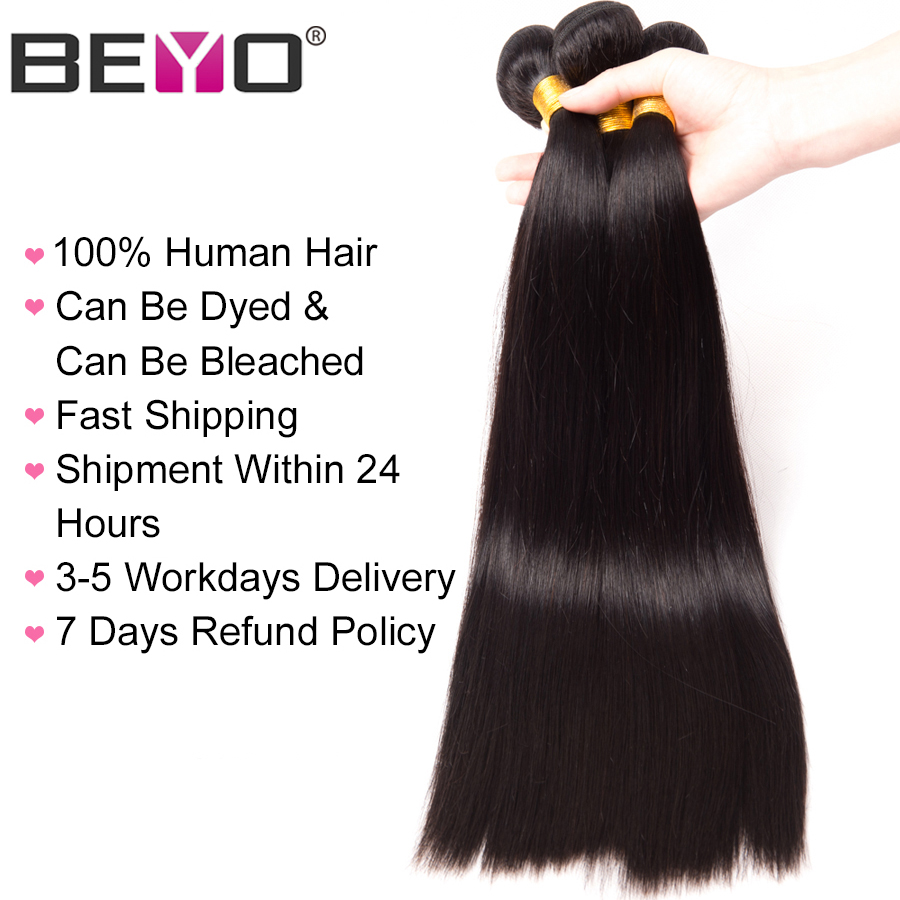 altBeyo Hair Brazilian Straight Hair Weave Bundles 1 Piece 100% Human Hair Bundles Free Shipping Non-Remy Natural Color Can Be Dyed