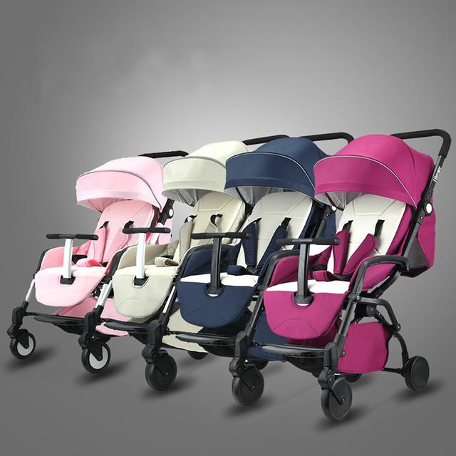 Luz carrinho de bebê dobrável portátil pode sentar pode mentir crianças suspensão carrinho de bebê