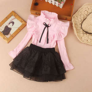 Cotton Blouse Shirt Tops Long-Sleeve School-Girl Kids Children Fall New Spring Solid