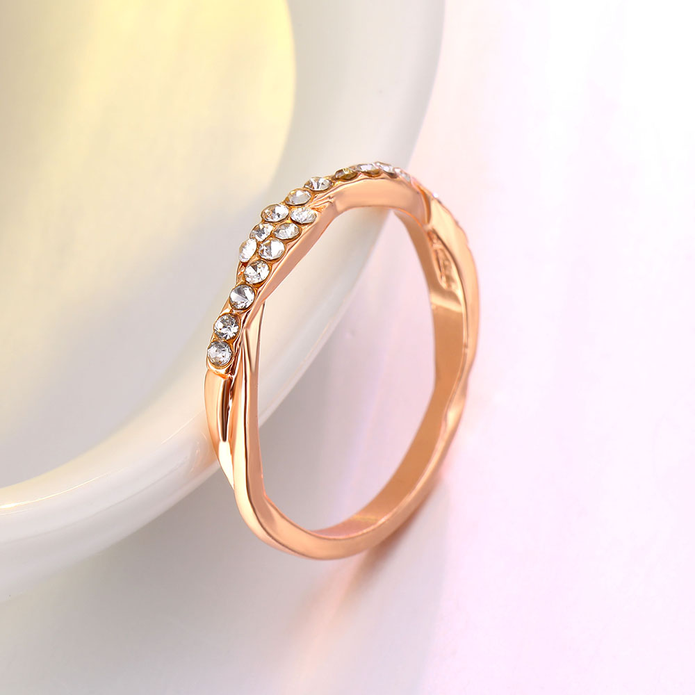 IPARAM Pattern Twisted Rope Hemp Flowers Ring Plating Rose Gold Silver Micro Cubic Zirconia Tail Ring Fashion Women's Jewelry 3