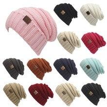 506d39bcc1242 CC Ponytail Beanie Hat mujeres Crochet Knit Cap invierno Skullies gorros  gorras caliente hembra de punto