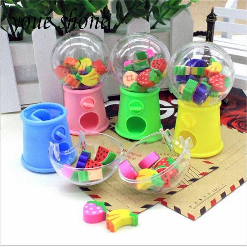 Youe Shone 1set Fruit Fun Rubber Eraser Creative Styling Capsule Machine Eraser Cartoon Children's Gifts Student Stationery