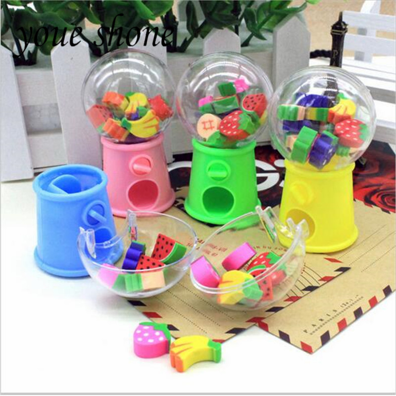 Youe Shone 1set Fruit Fun Rubber Eraser Styling Capsule Machine Eraser Cartoon Children's Gifts Student Stationery